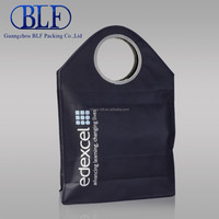 round handles black non woven cheap recycle shopping bag