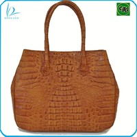 Hot sale OEM caiman hornback cut genuine crocodile leather bag handbag women, real crocodile skin women handbag