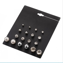 BZ-03 Fashion Ladies 9 Pairs Round Pearl Charm Earring Made In Korea Stud Earrings