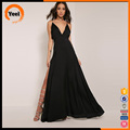 Online cheap open back neck design black backless evening maxi dress