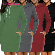 Private Label Long Sleeve Winter Formal Pullover Mini Hoodie Dress Womens