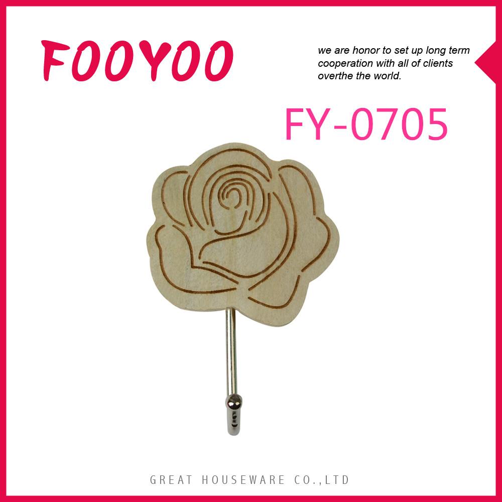 FOOYOO FY-0705 WALL WOOD HOOK FURNITURE HOOKS OUTDOOR ADHESIVE WALL HOOK