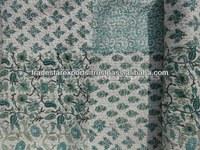 Handmade Cotton Patchwork Kantha Quilt, Hand Block Printed Bedspread