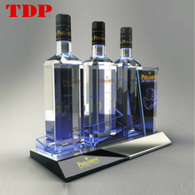Custom New Design Led Lighting Acrylic Wine Bottle Display Stand For Sale