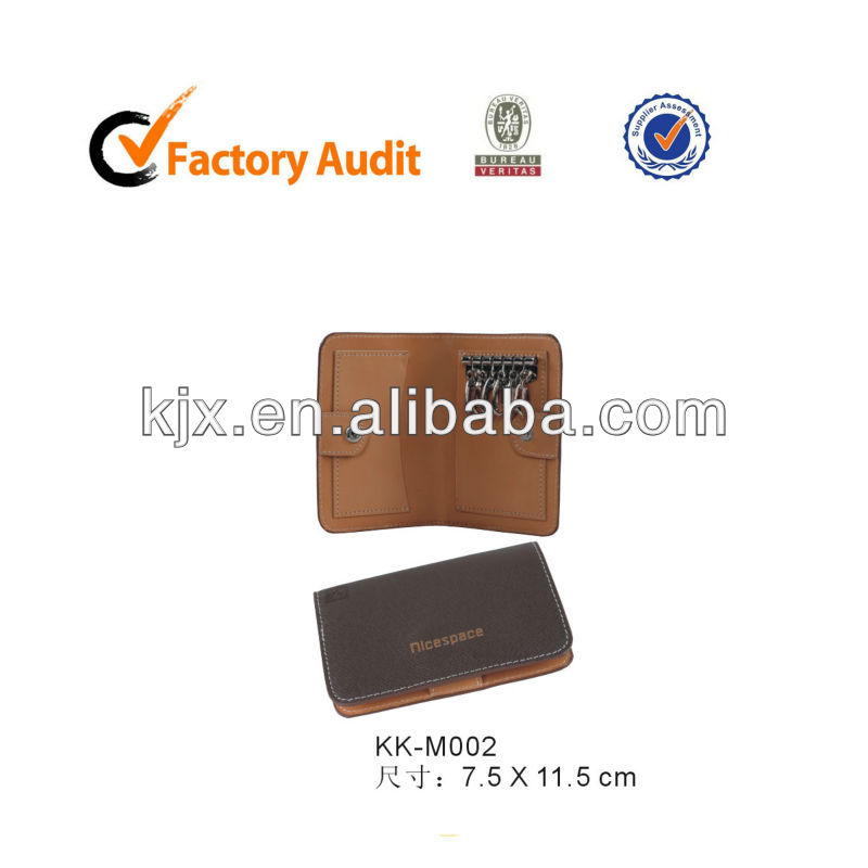 Portable genuine leather key case