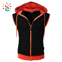 Two tone Kangaroo Pocket Zip Up Drawstring Hooded Vest Sleeveless Bodybuilding Muscle Stringer shirt mens hoodie