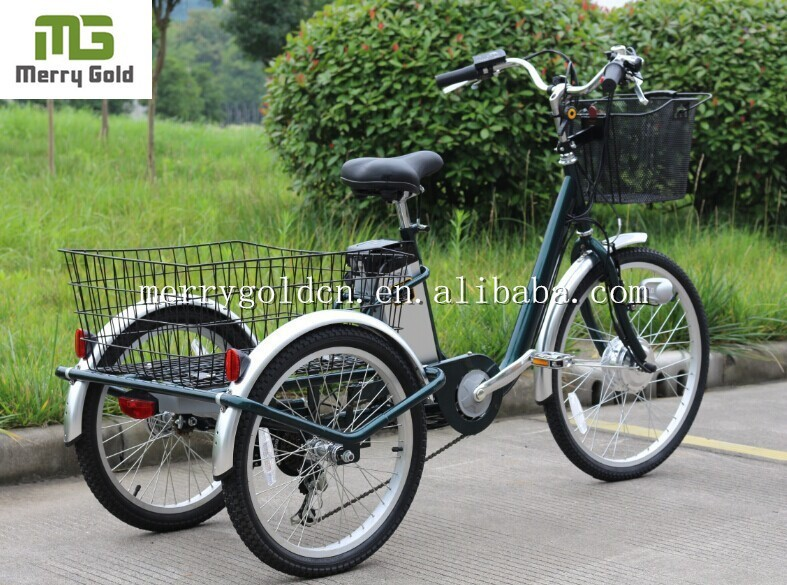 eco-friendly adult three wheel bike with front and rear baskets