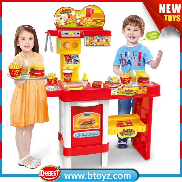 Super Fast Food Shop Play Set Toys with Billboards and Acousto-optic Cash Register