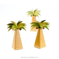 Mini Palm Tree Beach Pyramid Box Destination Wedding Party Custom Bridal Shower Supplies Boxes(BF527)