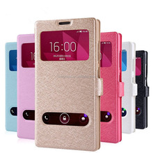 Hot PU leather window view smart flip case cover for Huawei Honor 3C