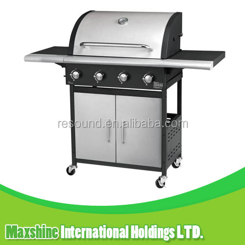 4 burner garden barbecue grill, stainless bbq gas grill, outdoor gas grill