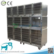 Cage stainless steel veterinary dog cage with wheels