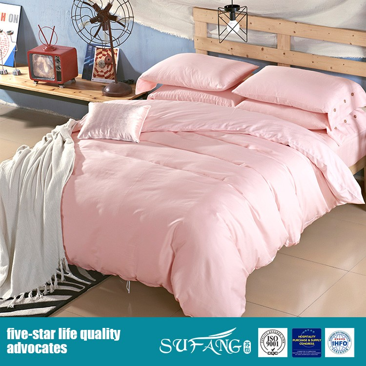 100% Cotton solid color bedding set queen duvet cover set for home hotel use