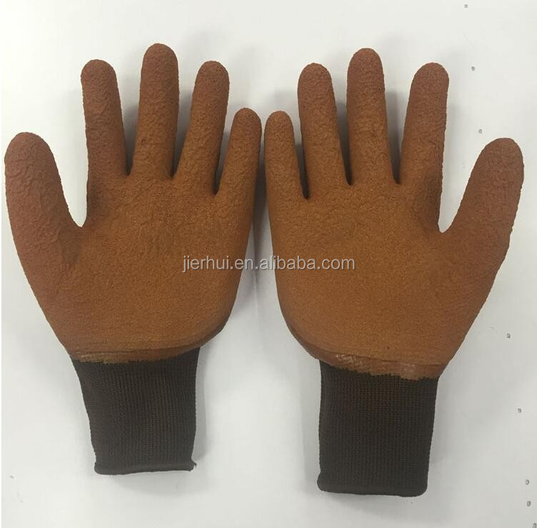Latex coating cut protective customized green rubber gloves