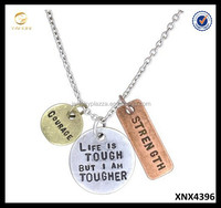Stamped with Love Inspirational Tri Toned Stamped Charm Plates Cable Chain Necklace