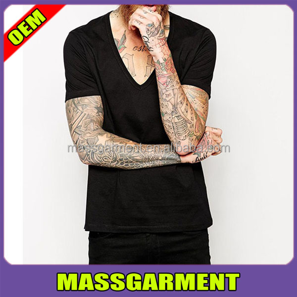 MS-1675 Cheap Wholesale Mens Black V Neck T Shirt Custom Blank Cotton Wide Collar T shirt