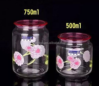 750ml round glass storage jars with swing top