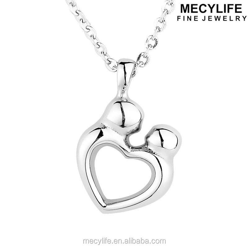 MECYLIFE Stainless steel heart shaped mother and child necklace ash urn jewelry