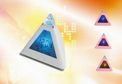 Hairong pyramid shape funnny digital lcd alarm clock with 7 color led light