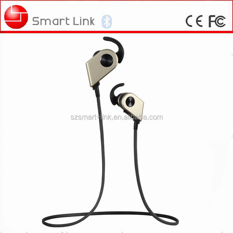 Neckband stereo earphone built-in hidden mini dynamic microphone support long distance bluetooth wireless connection