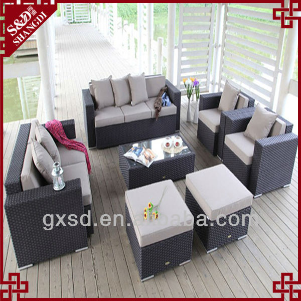 S&D aluminum luxury rattan sofa sala set