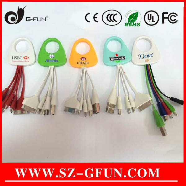custom LOGO printing promotional gift item,4 in 1 usb cable $0.9-$1.3
