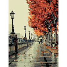 Wall Pictures Paint by Numbers DIY Landscape Decoracion Art Oil Painting Coloring by Numbers on Canvas or linen