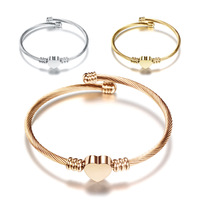 Fashion gold heart stainless steel bangle charm bracelet For Women Wholesale N95091