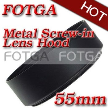 Wholesale Fotga Screw Mount 55mm Standard metal Lens Hood for Canon Nikon 55mm Lens