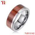 Silver tungsten carbide Flat Top Wedding Band Ring with Real Koa Wood Inlay, 8MM Comfort Fit