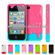 Cute 3D Melt ice-Cream Hard Cover Case For iPhone 4 4S Free Screen Protector