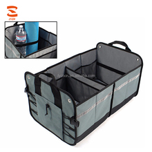 The Popular Car Trunk Organizer Foldable Storage Box with 12 Pockets and 2 Elastic Straps for SUV Vans Cars Trucks