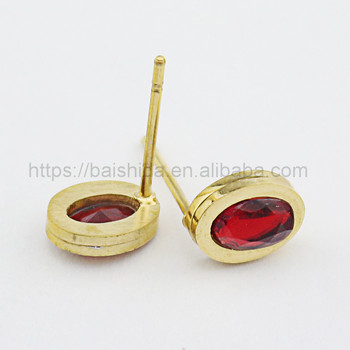 jewellery making supplies red gemstone stick earring elegant party jewelry for unisex