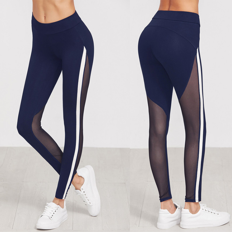 2017 hot sale dark navy sexy sports legging striped side mesh yoga legging for women
