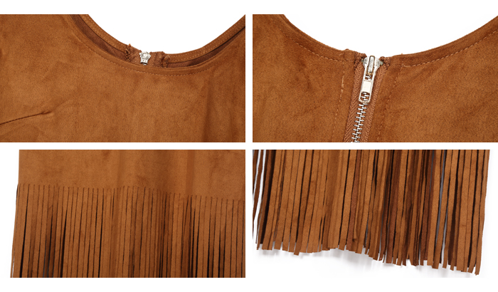 Suede fabric dress Short feather cocktail dresses Fringes for dresses