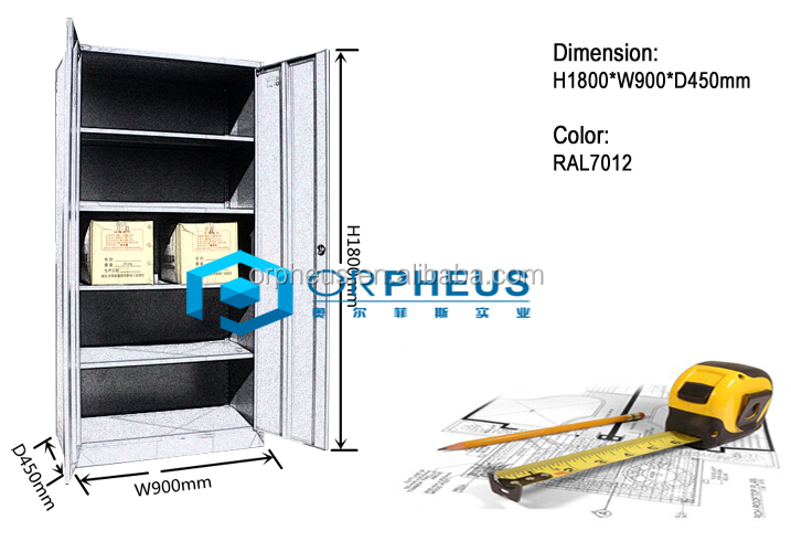 Chinese Supplier Heavy dury Rack Steel Office And Workplace Metal Storage Cupboard with 2 Internal Shelves