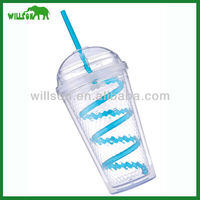new style double wall plastic cup with lid and straw
