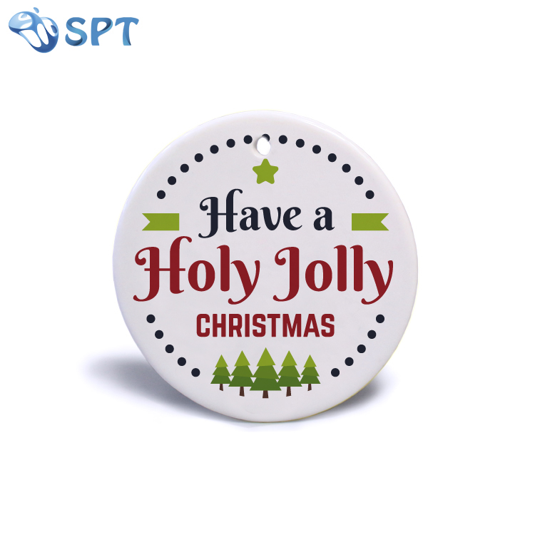 <strong>Christmas</strong> Tree Decoration Customized Two Sides White Blank Sublimation Flat Ceramic <strong>Christmas</strong> Ornaments printing