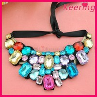 wholesale fashion large crystal stone colorful fake collar for clothes WNL-1389