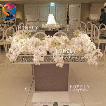 mirror hot sale event wedding dining party rectangle black tempered glass top crystal gold stainless steel table