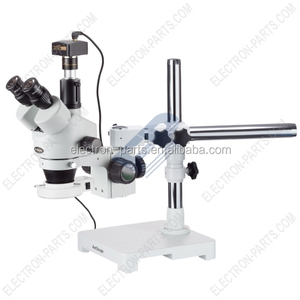 Professional Trinocular Stereo Zoom Microscope with Simultaneous Focus Control, WH10x Eyepieces, 7X-45X Magnification, 0.7X-4.5X