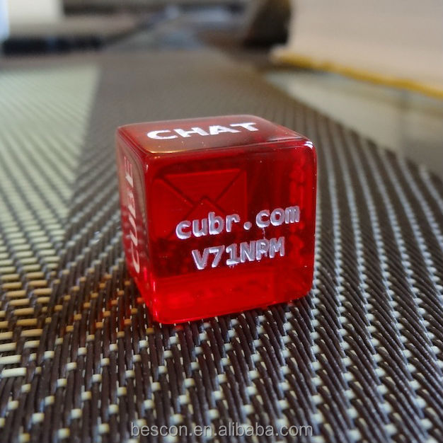Translucent red random letter engraving dice