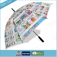Stick newspaper design automatci umbrella,cheap newspaer printed auto open umbrella