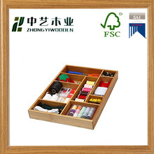 China supplier Eco-friendly natural Bamboo unfinished Drawer Shelf Drawer Organizer sewing box
