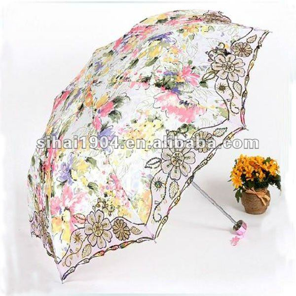 3 folding lady lace parasol umbrella with good design