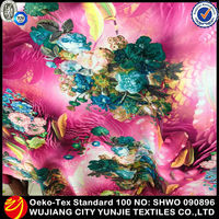 2014 Newly 100% polyester printed coral satin fabric