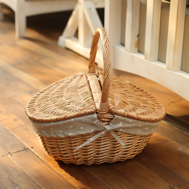 YRMT,willow picnic basket with lining handmade picnic basket