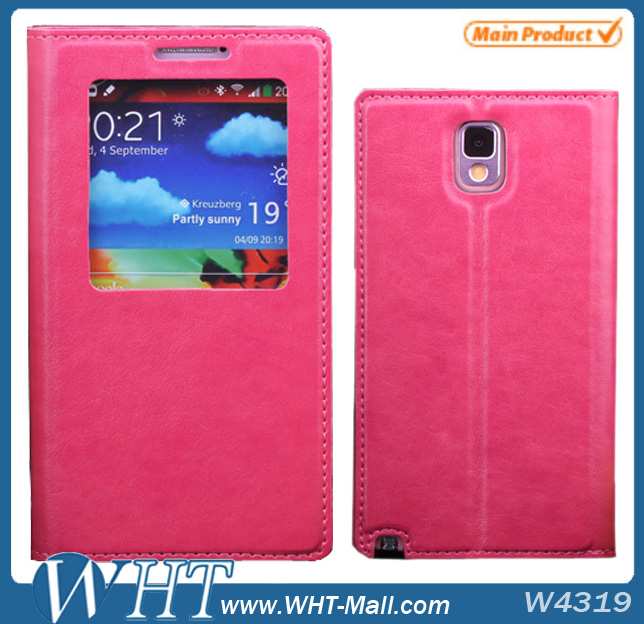 Smart Cover Case for Samsung Galaxy Note 3 with Window Design Case.For Galaxy Note 3 Custom Case