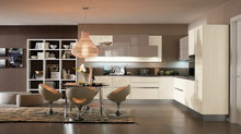 L-shaped Pearl white kitchen cabinet for modern style kitchens design