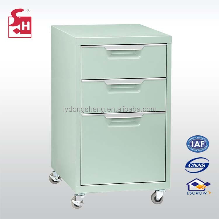 3 drawer filing cabinet metal locker with wheels can move
